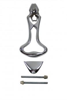<PRE>Door Knocker Chrome Solid Brass Art Deco 8&quot;H x 3.5&quot;W </PRE>