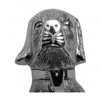 <PRE>Chrome Solid Brass Door Knocker Large Dog Head 7 5/8inchH </PRE>zoom10