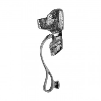 <PRE>Chrome Solid Brass Door Knocker Large Dog Head 7 5/8inchH </PRE>zoom12
