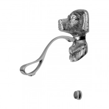 <PRE>Chrome Solid Brass Door Knocker Large Dog Head 7 5/8inchH </PRE>zoom13