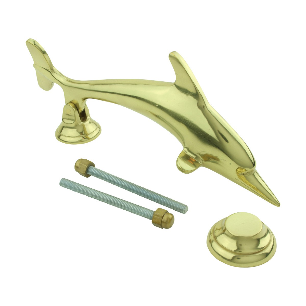 Solid Brass Vintage Dolphin Door Knocker Fish Flipper 8H Dolphin Door Knocker Fish Door Knocker Brass Door Knockers