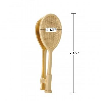 spec-<PRE>Solid Brass Door Knocker Tennis Racket Badminton 7.5&quot;H </PRE>