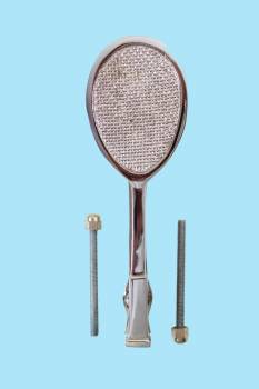 <PRE>Chrome Brass Door Knocker Tennis Racket Badminton 7.5inchH </PRE>zoom2