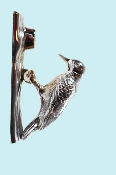 <PRE>Chrome Solid Brass Vintage Door Knocker Woodpecker 6.5&quot;H </PRE>
