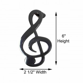 "spec-<PRE>Door Knocker Chrome Music Note 6""H x 2.5""W </PRE>"