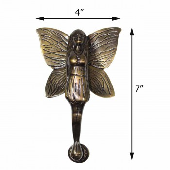 "spec-<PRE>Antique Solid Brass Vintage Door Knocker Flower Fairy 7""H </PRE>"