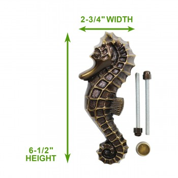 spec-<PRE>Antique Door Knocker Brass Antique Door Hardware Sea Horse Door Knocker 6 1/2</PRE>