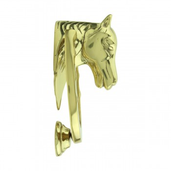 <PRE>Solid Brass Door Knocker Heavy Duty Horse 5.25inchH </PRE>zoom4