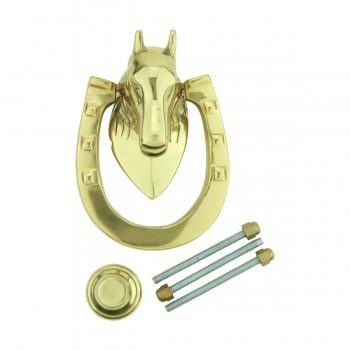 Solid Brass Door Knocker Heavy Duty Horse 5.25