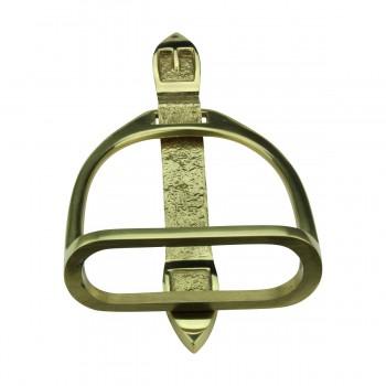 <PRE>Solid Brass Large Door Knocker Stirrup 9.5inchH </PRE>zoom6