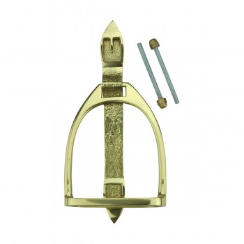 <PRE>Solid Brass Large Door Knocker Stirrup 9.5inchH </PRE>zoom8