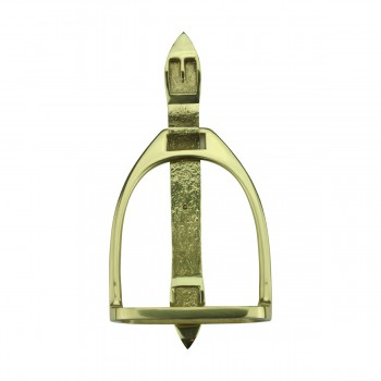 Solid Brass Large Door Knocker Stirrup 95H
