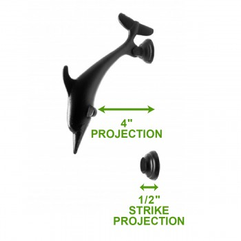 spec-<PRE>Door Knocker Black Cast Iron Dolphin 8&quot; H x 2 1/8&quot; W </PRE>