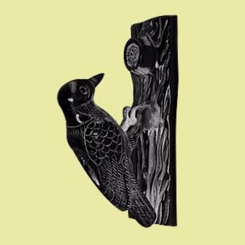 <PRE>Door Knocker Black Cast Iron Woodpecker 6 1/2H 2 W </PRE>zoom2