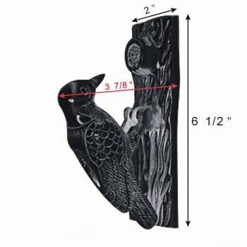 spec-<PRE>Door Knocker Black Cast Iron Woodpecker 6 1/2H 2 W </PRE>