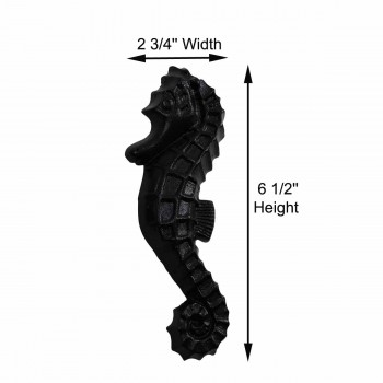 "spec-<PRE>Door Knocker Black Cast Iron Sea Horse 6 1/2"" H x 2 3/4"" W </PRE>"