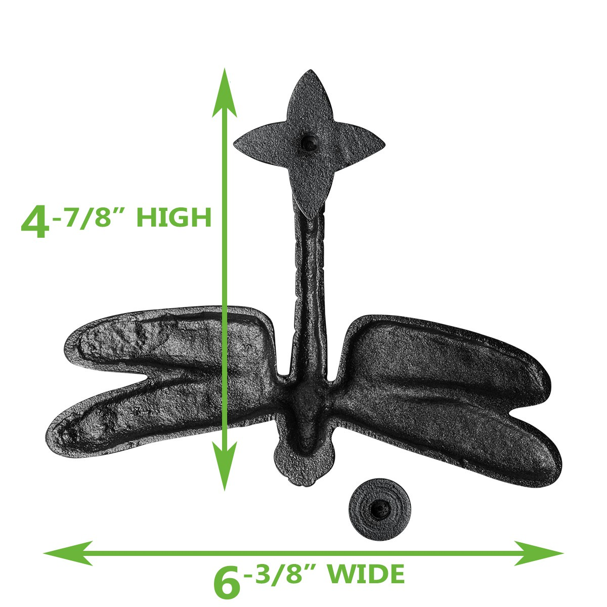 "<PRE>Door Knocker Black Cast Iron Dragon Fly 4 7/8"" H x 6 3/8"" W </PRE>"