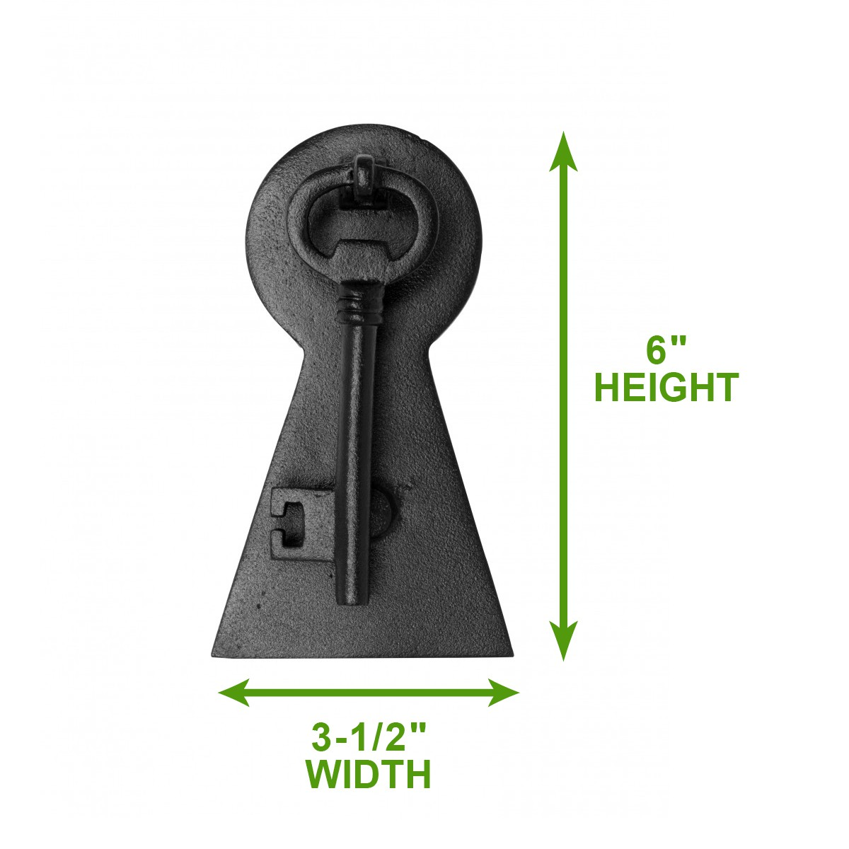 "<PRE>Door Knocker Black Cast Iron Key 6"" H x 3 1/2"" W </PRE>"