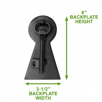 "spec-<PRE>Door Knocker Black Cast Iron Key 6"" H x 3 1/2"" W </PRE>"