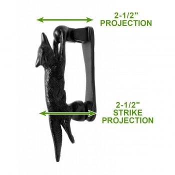 spec-<PRE>Door Knocker Black Cast Iron Tally-Ho Fox  5 1/2&quot; H x 1&quot; W </PRE>