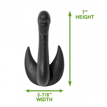 "spec-<PRE>Door Knocker Swan Black Cast Iron 7"" H x 3 7/8"" W </PRE>"