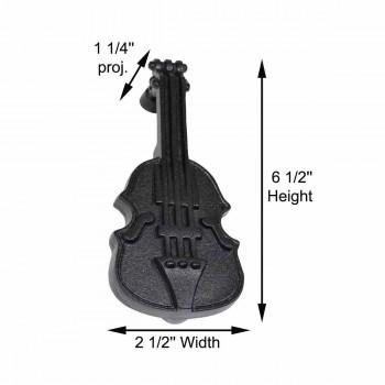 "spec-<PRE>Door Knocker Violin Black Cast Iron 6 1/2"" H x 2 1/2"" W </PRE>"