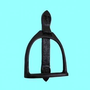 "<PRE>Door Knocker Horse Saddle Stirrup Iron 9 1/3inch H x 4 1/2"" W </PRE>zoom2"