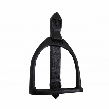 "<PRE>Door Knocker Horse Saddle Stirrup Iron 9 1/3inch H x 4 1/2"" W </PRE>zoom1"