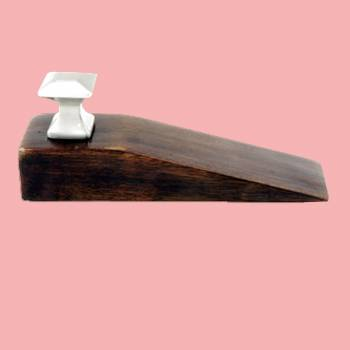 Door Wedge Solid Mango Wood Satin Brass Knob Walnut