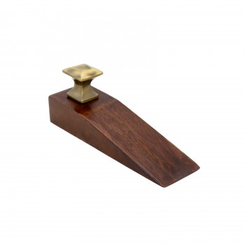 Door Wedge Solid Mango Wood Oil Rubbed Bronze Knob Brown 17302grid