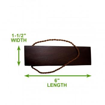 spec-<PRE>Door Wedge Solid Mango Wood Leather Hanging Loop Brown </PRE>