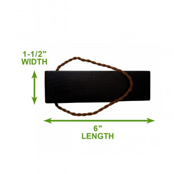 spec-<PRE>Door Wedge Solid Mango Wood Leather Hanging Loop Black </PRE>