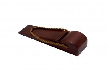 <PRE>Door Wedge Solid Mango Wood Leather Hanging Loop Cherry </PRE>zoom4
