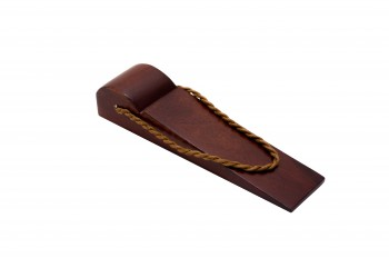 <PRE>Door Wedge Solid Mango Wood Leather Hanging Loop Cherry </PRE>zoom5