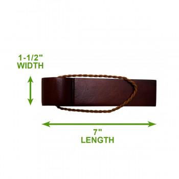 spec-<PRE>Door Wedge Solid Mango Wood Leather Hanging Loop Cherry </PRE>
