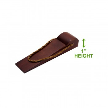spec-<PRE>Door Wedge Solid Mango Wood Leather Hanging Loop Cherry </PRE>