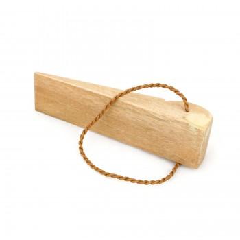 Door Wedge Solid Mango Wood Leather Hanging Loop Natural Floor Stop Door Stop Door Bumper