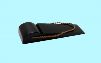 Black Door Wedge Solid Mango Wood Leather Hanging Loop Floor Stop Door Stop Door Bumper