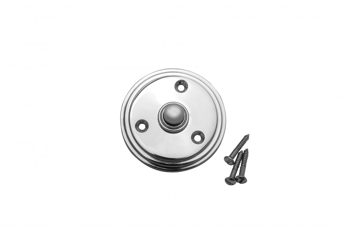 Door Bell Push Button Chrome Round Push Plate
