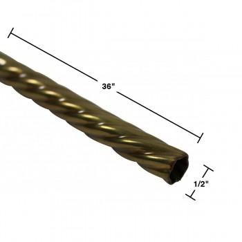spec-<PRE>Spiral Stair Carpet Rod Tubing 1/2&quot; OD 36&quot; Lifetime Brass </PRE>