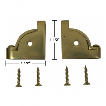spec-<PRE>Pair Carpet Stair Rod Brackets Solid Brass Swivel Hinge </PRE>