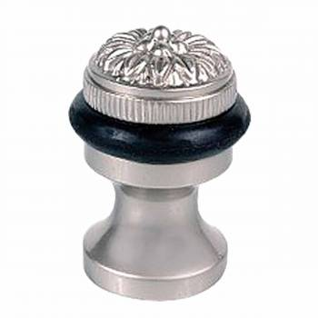 Brass Door Stop Floor Mount Bumper Satin Flower 17456grid