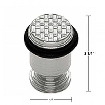 spec-<PRE>Floor Mount Door Bumper Solid Brass, Satin Chrome Finish Basket Weave </PRE>