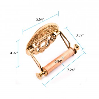spec-<PRE>Brass Toilet Paper Holder, 'The Crown', Polished Brass Finish</PRE>