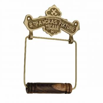 <PRE>Antique Toilet Paper Holder Brass St Pancras Tissue Holder </PRE>