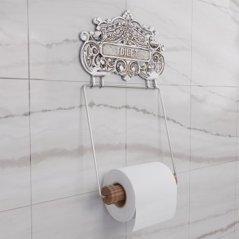 Antique Toilet Paper Holder Chrome Princess Crown Tissue 17529grid