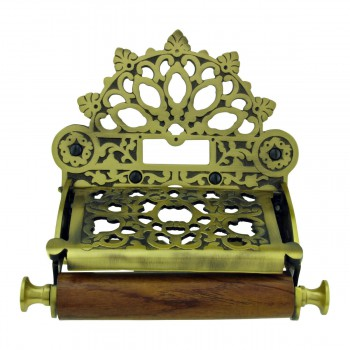 Antique Toilet Paper Holder Brass Royal Flush Tissue Holder for Bathroom17533grid