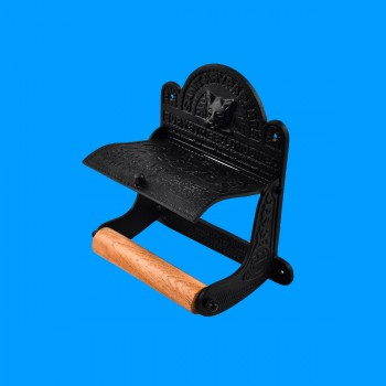 <PRE>Vintage Toilet Paper Holder Black Aluminum Tissue Holder </PRE>zoom2