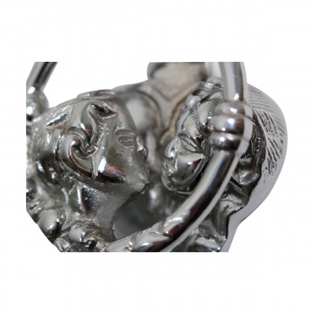 <PRE>Solid Brass Door Knocker Kissing Cherubs Chrome 4.75inchH </PRE>zoom5