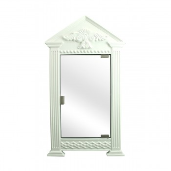 White Urethane Wall Mount Bathroom Corner Medicine Cabinet Mirror